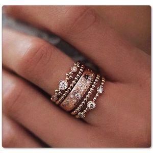 5Pc Boho Style Fashion Crystal Stack Rings